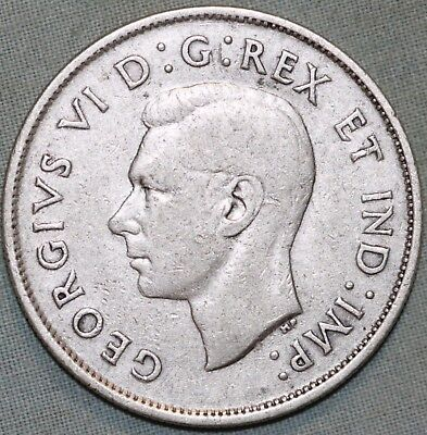 Canada 1941 50 Cent Coin~ .800 Silver~ George VI~ Combined S. & H.