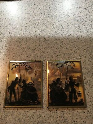 Beautiful Pair of Old Tiny Vintage Silhouette Picture Glass Framed Selling Cheap