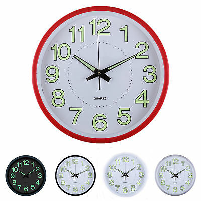 """12"""" Retro Clock Wall Diner Vintage Home Office Dining Room Glow In The Dark  UK"""