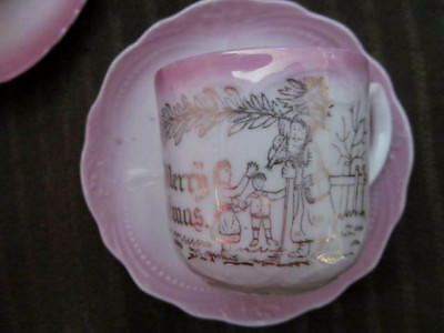 Merry Christmas SANTA CLAUS Antique Childs Cup & Saucer~1890 Germany Pink Luster