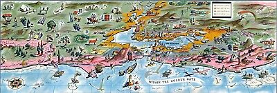 1936 pictorial map Within the Golden Gate San Francisco California POSTER 11073