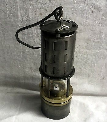 N°007 Wetterlampe Grubenlampe Brass Miners Safety Lamp Old Miners Lamps