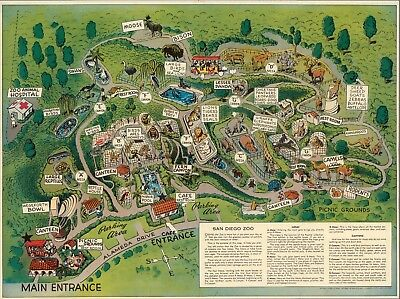 1948 pictorial map POSTER San Diego Zoo California 12149