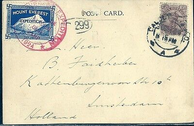 Indien 1924, Postcard Mount Everest Expedition+ ZuF nach Amsterdam, Originalsign
