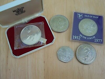 5 old ISLE OF MAN COINS inc 1970 PROOF CAT & CHRISTMAS 1980 50p