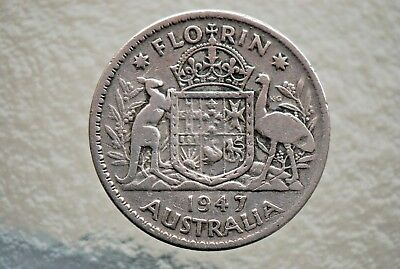 1947 FLORIN--GEORGE VI--50% SILVER -in 2x2 HOLDER--NO RESERVE