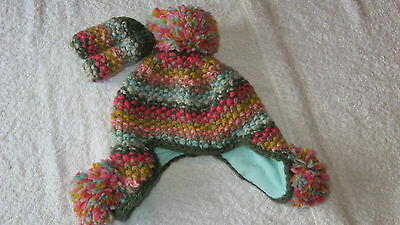 HAT MITTENS SET BNWT Next 3-9 months Baby Girls New Winter 3-6-9 Multicolour