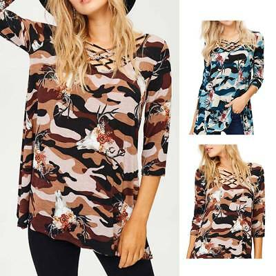 Womens Crossing V-neck Floral Printed Three Quarter Sleeve Summer Casual Blouse