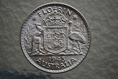 1943 FLORIN--GEORGE VI--92.5% SILVER -in 2x2 HOLDER--NO RESERVE