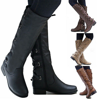 Womens Block Low Heel Boots Knee High Lace Up Shoes Zip Up Leather Riding Boot