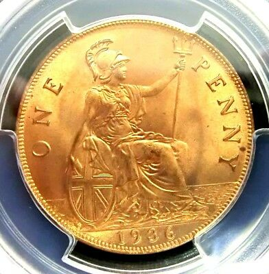 PCGS MS65RD Secure-Great Britain 1936 George V One Penny GEMBU RARE