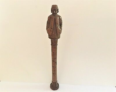 Antique Late 18th Early 19th Cent Tyrolean Standing Sculptured Wood Needle Case