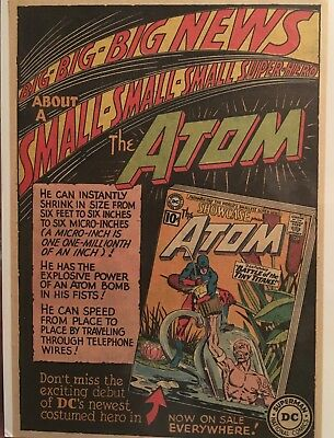 """SHOWCASE #34 6.25"""" x 9"""" Ad First Appearance of the Atom (Ray Palmer) Pristine!"""