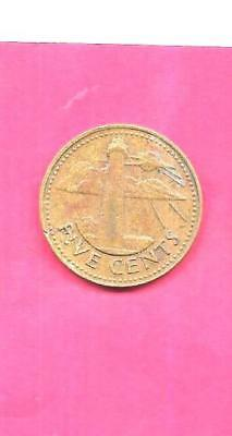 Barbados Km11 1979 Vf-Very Fine-Nice Old Vintage 5 Cents Lighthouse Coin