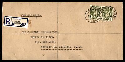 Jos Northern Nigeria May 2 1947 Registered Air Mail Cover To Detroit Mi Usa With