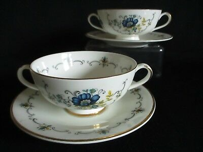 Vintage china blue design twin handled soup bowls & saucers x 2 lovely condition
