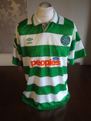 CELTIC Original 1991 UMBRO Home Shirt LARGE Adults FORD Rare Vintage Glasgow
