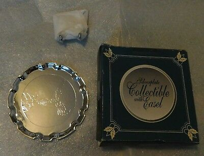 Mini Hummingbird Tray Silverplate Collectible Easel Scalloped Edges 4 inch