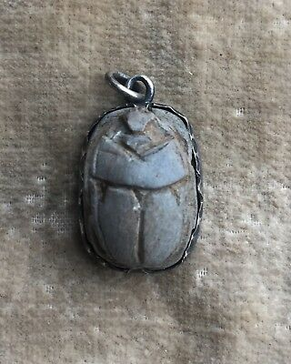 Ancient Egyptian silver mounted stone carved scarab revival charm pendant