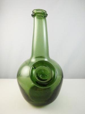 Vintage Reproduction ~ Joseph Frances Applied Medallion Hand Blown Green Bottle