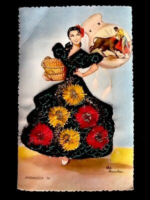 c1950's Vintage Spanish Embroidered Silk Postcard-Andalucia #34 Unposted