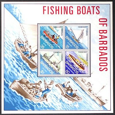 AT132 BARBADOS Fishing Boats S/S Diamond-Shaped Stamps MINT NH