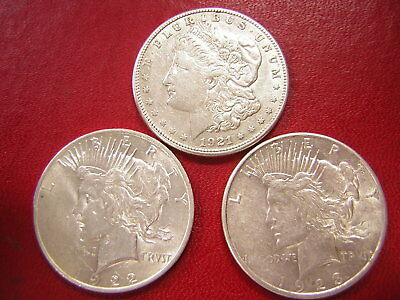 Lot of 3 Silver Dollars, Morgan & Peace   / 1921-s  1922 1923-s /U S Coins 399