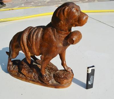 19thc Black forest ANTIQUE hand carved wood St Bernard Dog mint condition10.2 in