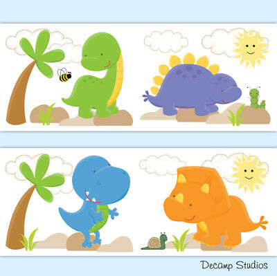 Dinosaur Nursery Decal Baby Boy Wallpaper Border Wall Art Stickers Kids Room