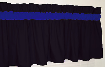 BLUE THIN LINE Black and Royal Blue BRIGHT Window Curtain Topper Valance Bedroom