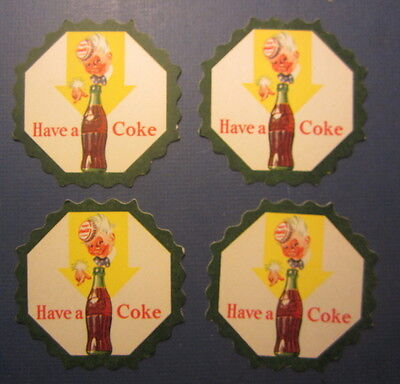 Lot of 4 Old Vintage HAVE A COKE - Sprite Boy - DRINK COASTERS - Dark Green