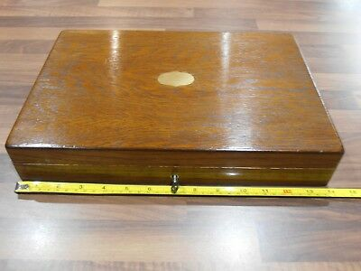 Antique Lined Oak Collectors Box with lock and key