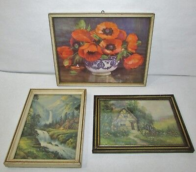 Lot of 3 Old Antique Small Framed Prints Waterfall Poppies & Cottage