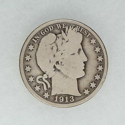 1913 Barber Half Dollar 50C Silver Coin Choice Vg Very Good (6506)