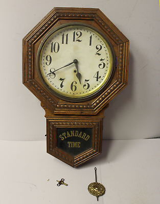 Antique Oak Gilbert Clock Company Regulator School House Wall Mount Clock
