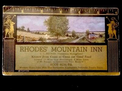 1930's Rhodes' Mountain Inn Scot Run, PA  Advertising Ink Blotter