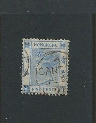 HONG KONG China Treaty Ports 1891 QV - SGZ162 - 5 Cents Blue - Fine used CANTON
