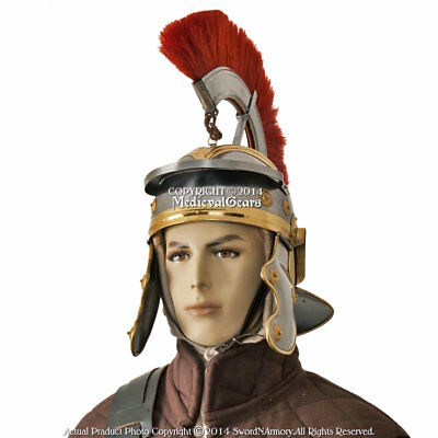 Imperial Roman Officer Helmet w/ Leather Liner and Detachable Plume Cosplay LARP