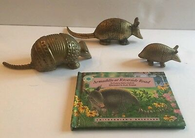 Brass Armadillo Lot Of 3 Vintage + Book Armadillo At Riverside Road