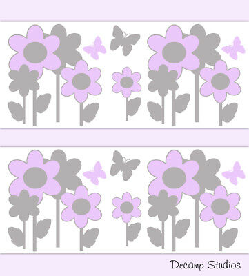 Butterfly Floral Wallpaper Border Wall Art Decals Purple Gray Baby Girl Nursery