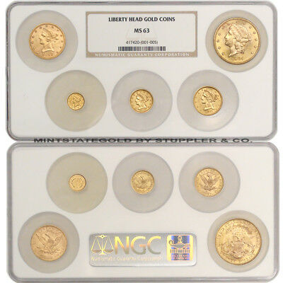 Set of 5 1852-1905 Gold Liberty Heads NGC MS63 choice coins $1 $2.50 $5 $10 $20