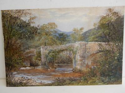 REALLY old PAINTING river antique  SIGNED M Gwilt Jolley 1880