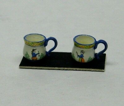 Dollhouse Miniature Hand Painted Quimper Mugs  from England