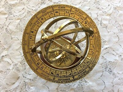 """Vintage  Franklin Mint The Armillary Brass Sphere Measures 5"""" High- On Wood Base"""