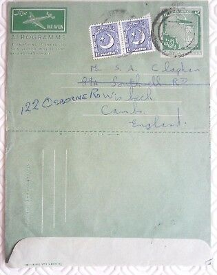 Pakistan aerogramme to UK with printed stamp + 2 x 1A stamps (1958)