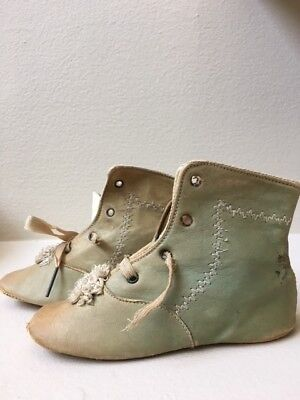 antique victorian sage/ocre leather lace up baby booties