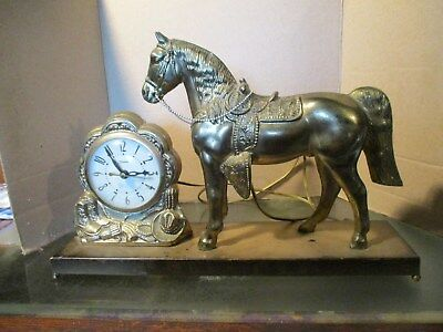 1950s Vintage COWBOY HORSE Electric Clock in Running Order