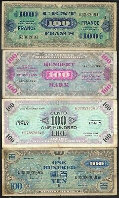 Allied Military - Set/4 WWII Notes - France 100Fr/Germany 100M/Italy 100L/Japan