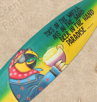 "40 Inch ""Beer In Hand, Paradise "" Surfboard Hand Crafted Wood Shark Bite Sign"