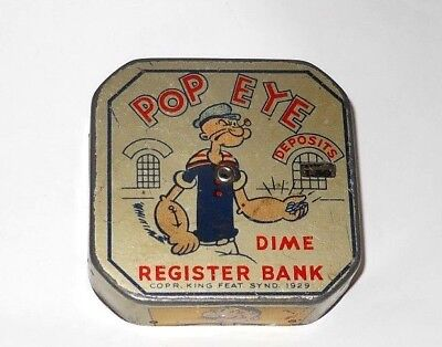 Vintage 1929 King Features Popeye Dime Register Bank